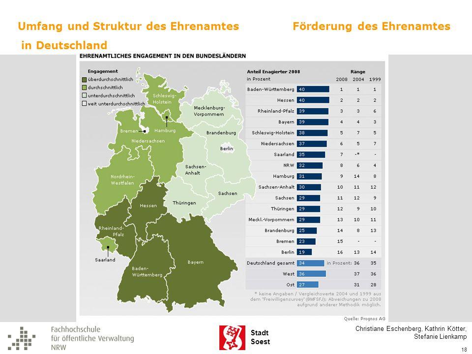 Stadt Soest Christiane Eschenberg, Kathrin Kötter, Stefanie Lienkamp 18 Umfang und Struktur des Ehrenamtes in Deutschland Förderung des Ehrenamtes