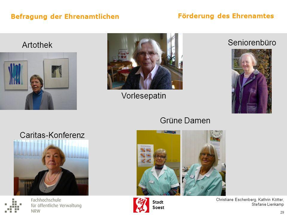 Stadt Soest Caritas-Konferenz Grüne Damen Seniorenbüro Vorlesepatin Artothek Förderung des Ehrenamtes Christiane Eschenberg, Kathrin Kötter, Stefanie