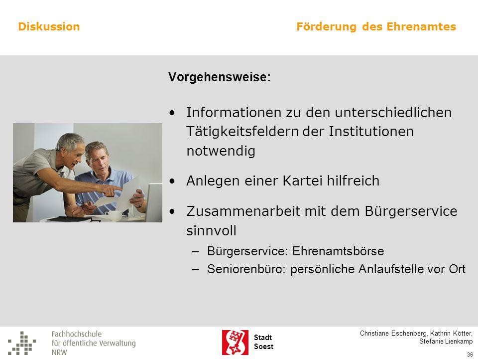 Stadt Soest Informationen zu den unterschiedlichen Tätigkeitsfeldern der Institutionen notwendig Anlegen einer Kartei hilfreich Zusammenarbeit mit dem