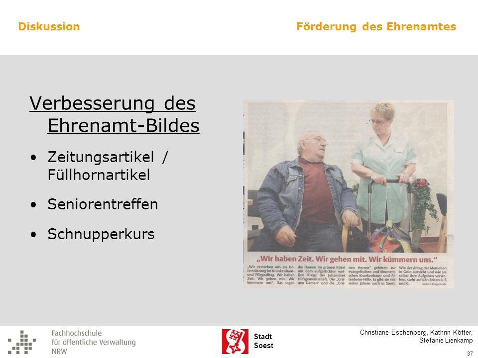 Stadt Soest Verbesserung des Ehrenamt-Bildes Zeitungsartikel / Füllhornartikel Seniorentreffen Schnupperkurs Christiane Eschenberg, Kathrin Kötter, St