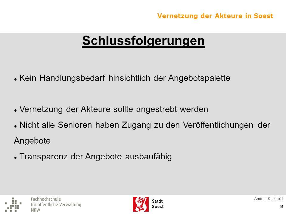 Stadt Soest Schlussfolgerungen Kein Handlungsbedarf hinsichtlich der Angebotspalette Vernetzung der Akteure sollte angestrebt werden Nicht alle Senior