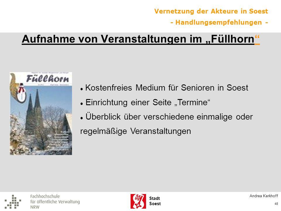 Stadt Soest Aufnahme von Veranstaltungen im Füllhorn Kostenfreies Medium für Senioren in Soest Einrichtung einer Seite Termine Überblick über verschie