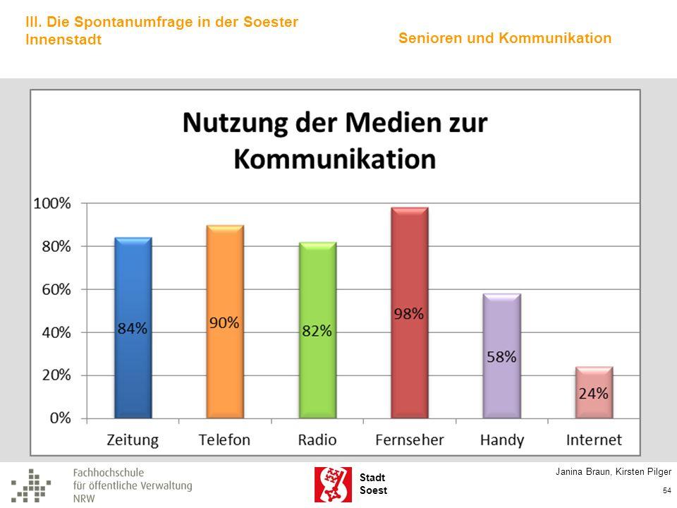 Stadt Soest Janina Braun, Kirsten Pilger 54 III. Die Spontanumfrage in der Soester Innenstadt Senioren und Kommunikation