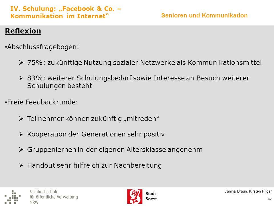Stadt Soest Janina Braun, Kirsten Pilger 62 IV. Schulung: Facebook & Co. – Kommunikation im Internet Reflexion Abschlussfragebogen: 75%: zukünftige Nu