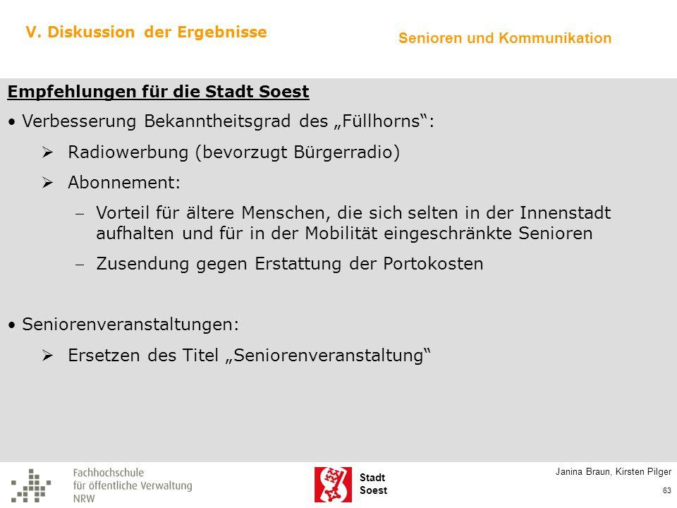 Stadt Soest V. Diskussion der Ergebnisse Empfehlungen für die Stadt Soest Verbesserung Bekanntheitsgrad des Füllhorns: Radiowerbung (bevorzugt Bürgerr