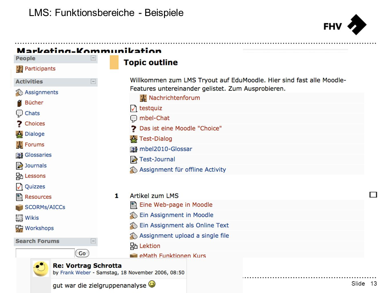 13 FHV Learning Support - Frank Weber Slide LMS: Funktionsbereiche - Beispiele