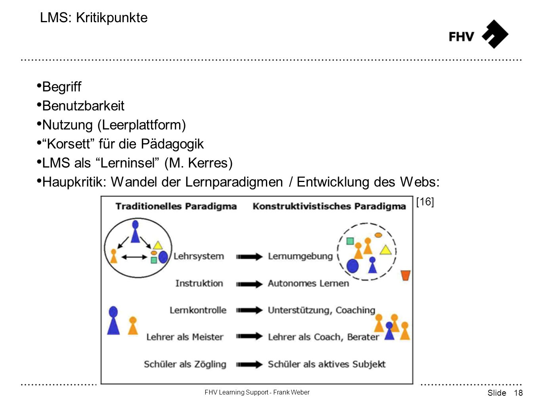 18 FHV Learning Support - Frank Weber Slide LMS: Kritikpunkte Begriff Benutzbarkeit Nutzung (Leerplattform) Korsett für die Pädagogik LMS als Lerninsel (M.