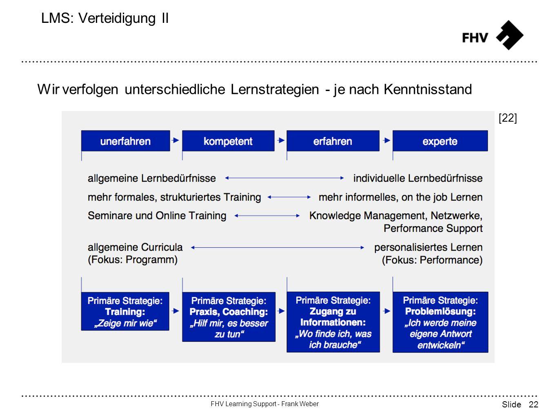 22 FHV Learning Support - Frank Weber Slide LMS: Verteidigung II [22] Wir verfolgen unterschiedliche Lernstrategien - je nach Kenntnisstand