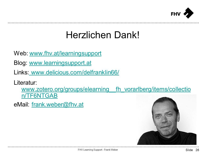 26 FHV Learning Support - Frank Weber Slide Herzlichen Dank.