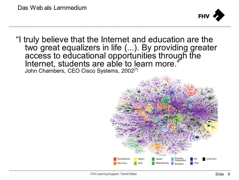 9 FHV Learning Support - Frank Weber Slide LMS: Defintion LMS = Learning Management System = Lernplattform Eine (...) Lernplattform ist eine Software für die Organisation und Betreuung webunterstützten Lernens und Lehrens.