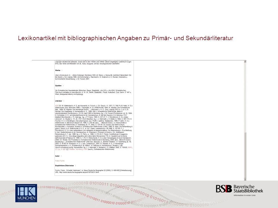 Lexikonartikel mit bibliographischen Angaben zu Primär- und Sekundärliteratur