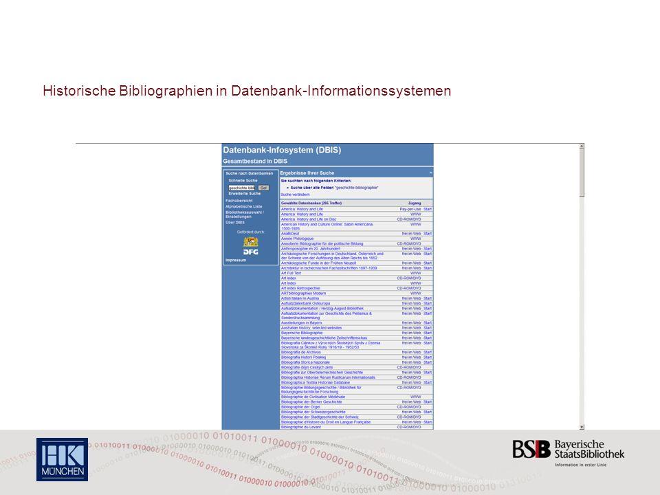 Historische Bibliographien in Datenbank-Informationssystemen