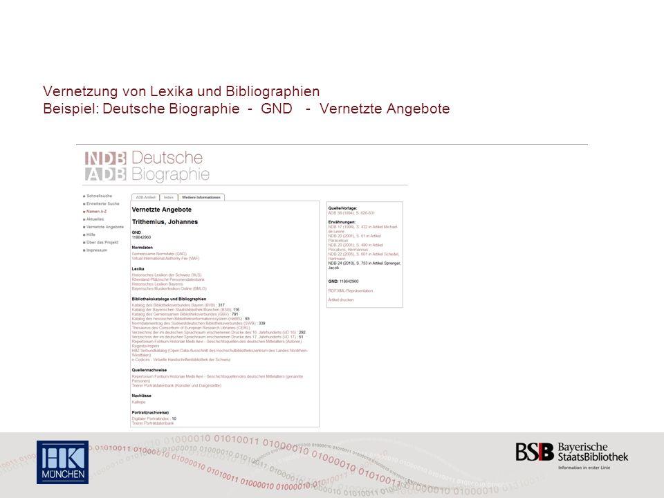 Vernetzung von Lexika und Bibliographien Beispiel: Deutsche Biographie - GND - Vernetzte Angebote