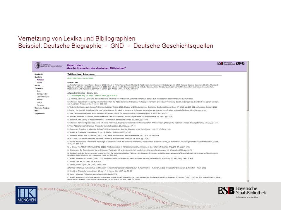 Vernetzung von Lexika und Bibliographien Beispiel: Deutsche Biographie - GND - Deutsche Geschichtsquellen