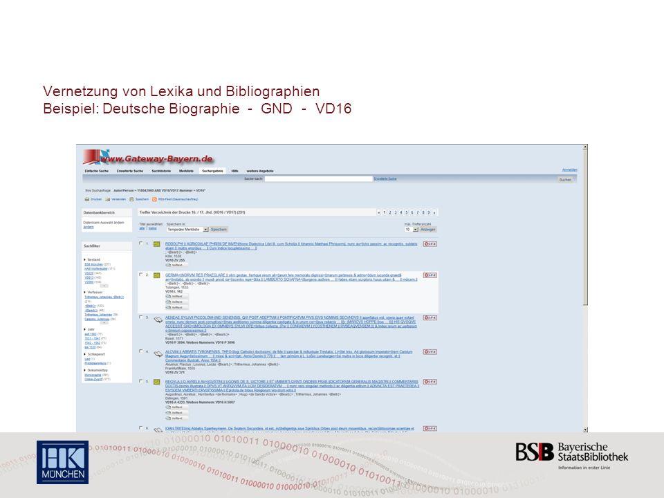 Vernetzung von Lexika und Bibliographien Beispiel: Deutsche Biographie - GND - VD16
