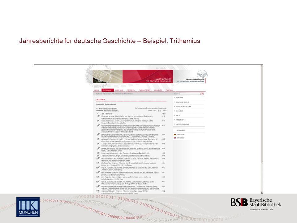 Jahresberichte für deutsche Geschichte – Beispiel: Trithemius