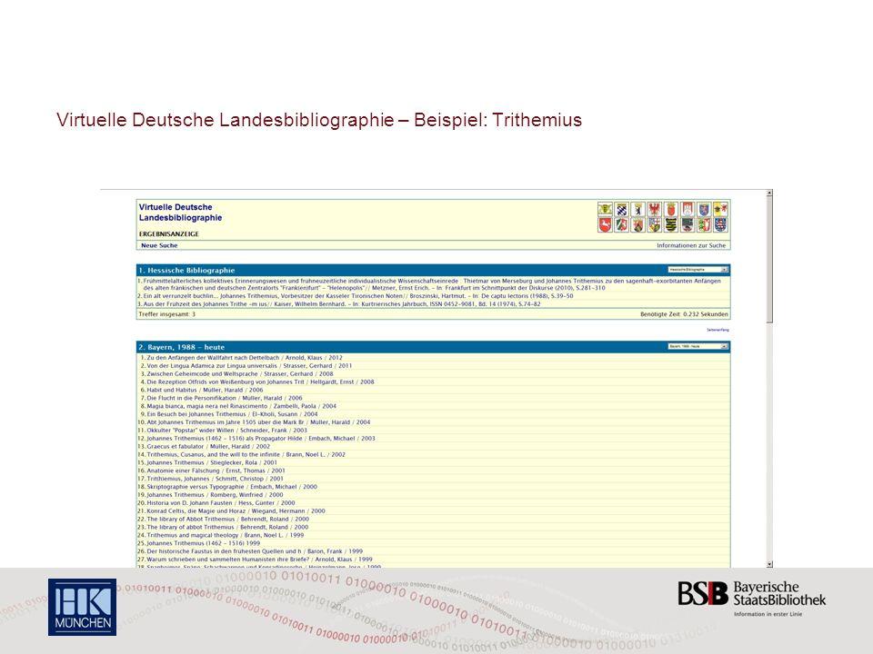 Virtuelle Deutsche Landesbibliographie – Beispiel: Trithemius