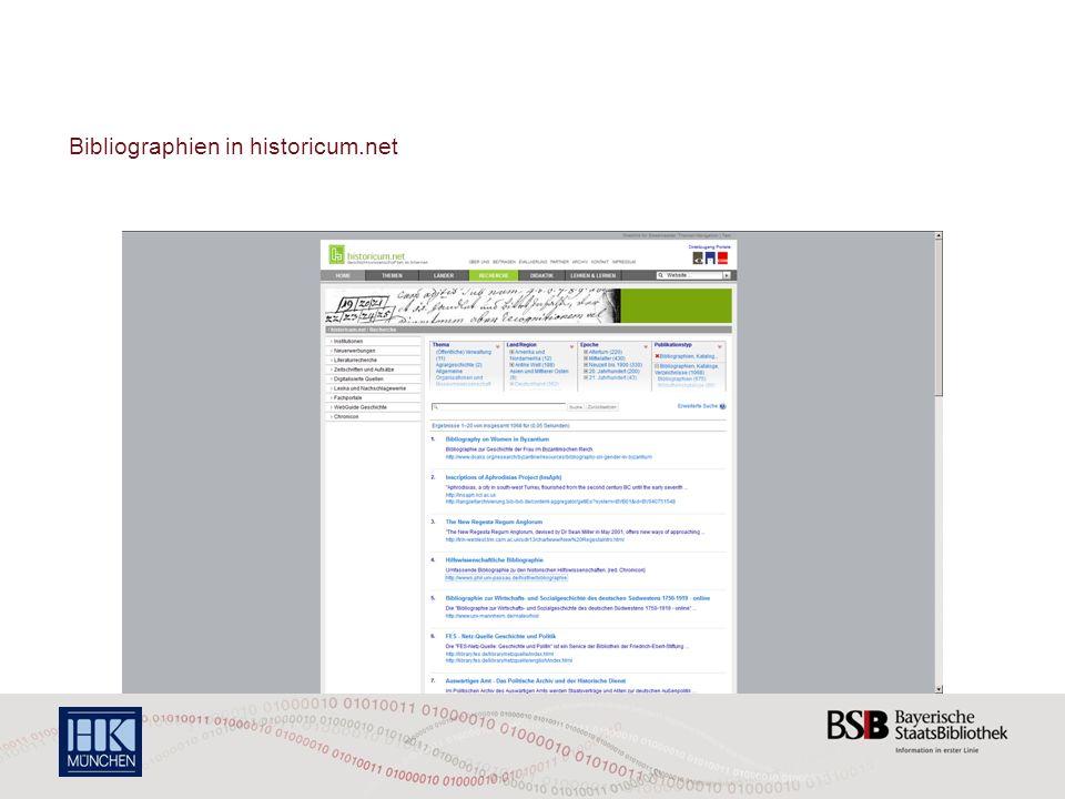Bibliographien in historicum.net