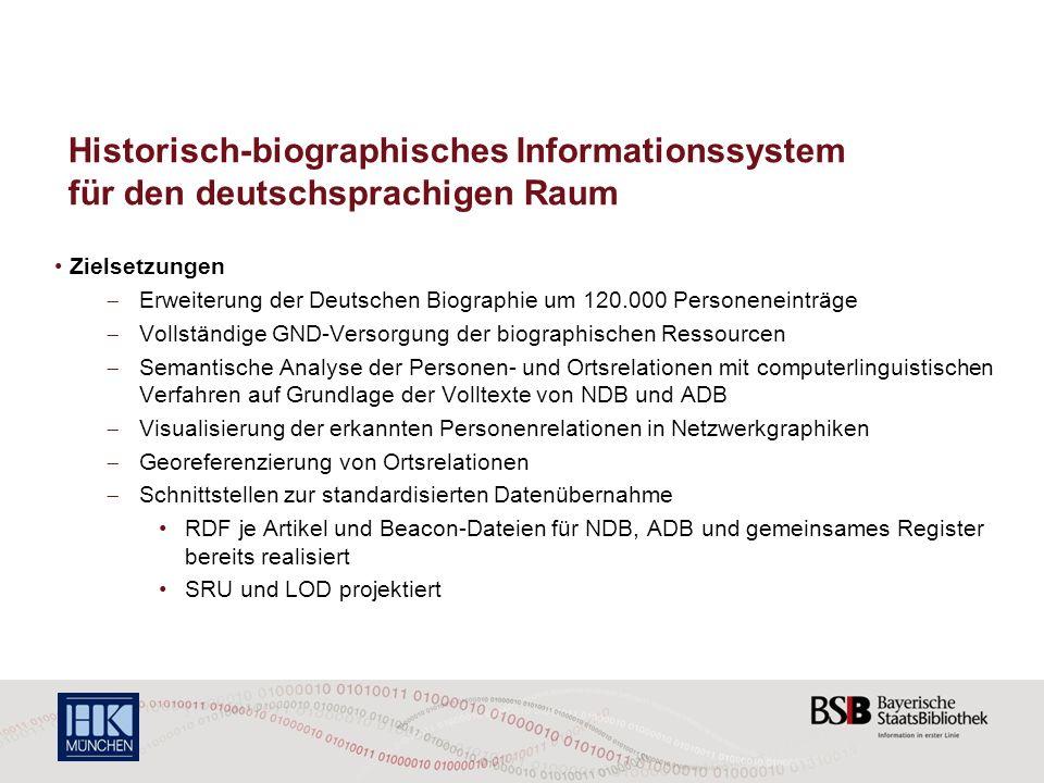 Historisch-biographisches Informationssystem für den deutschsprachigen Raum Zielsetzungen Erweiterung der Deutschen Biographie um 120.000 Personeneint