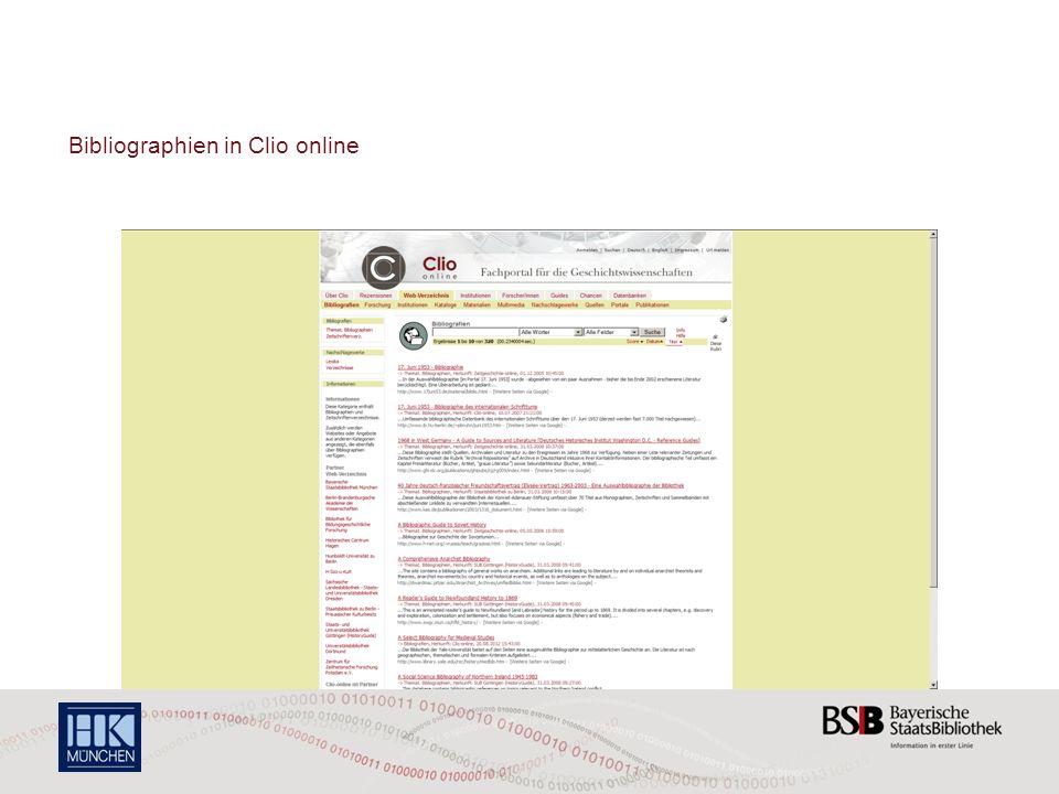 Bibliographien in Clio online