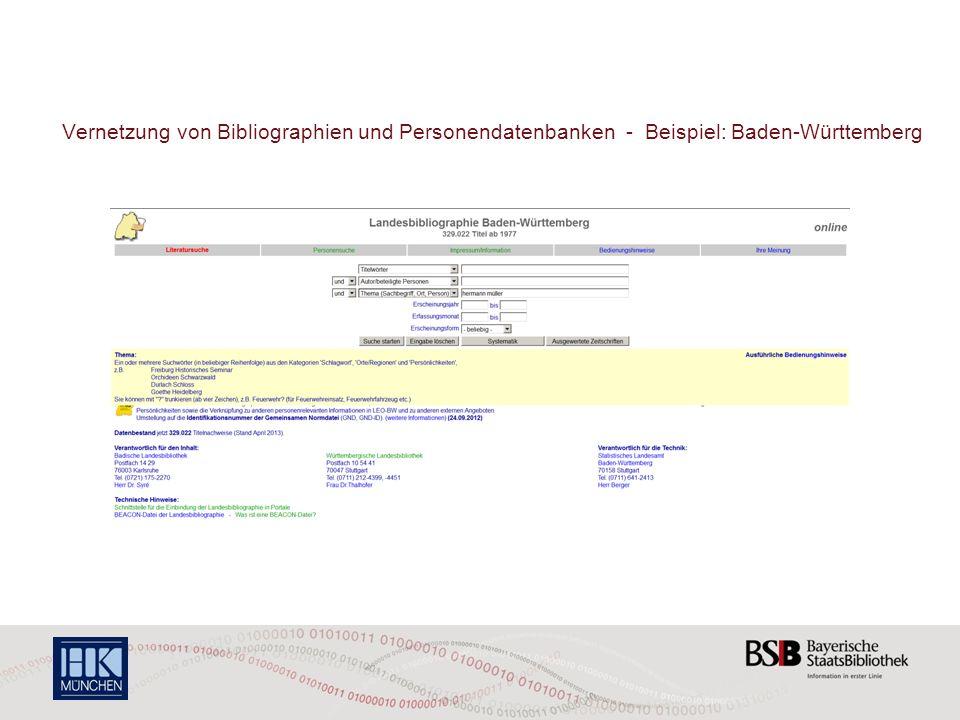 Vernetzung von Bibliographien und Personendatenbanken - Beispiel: Baden-Württemberg