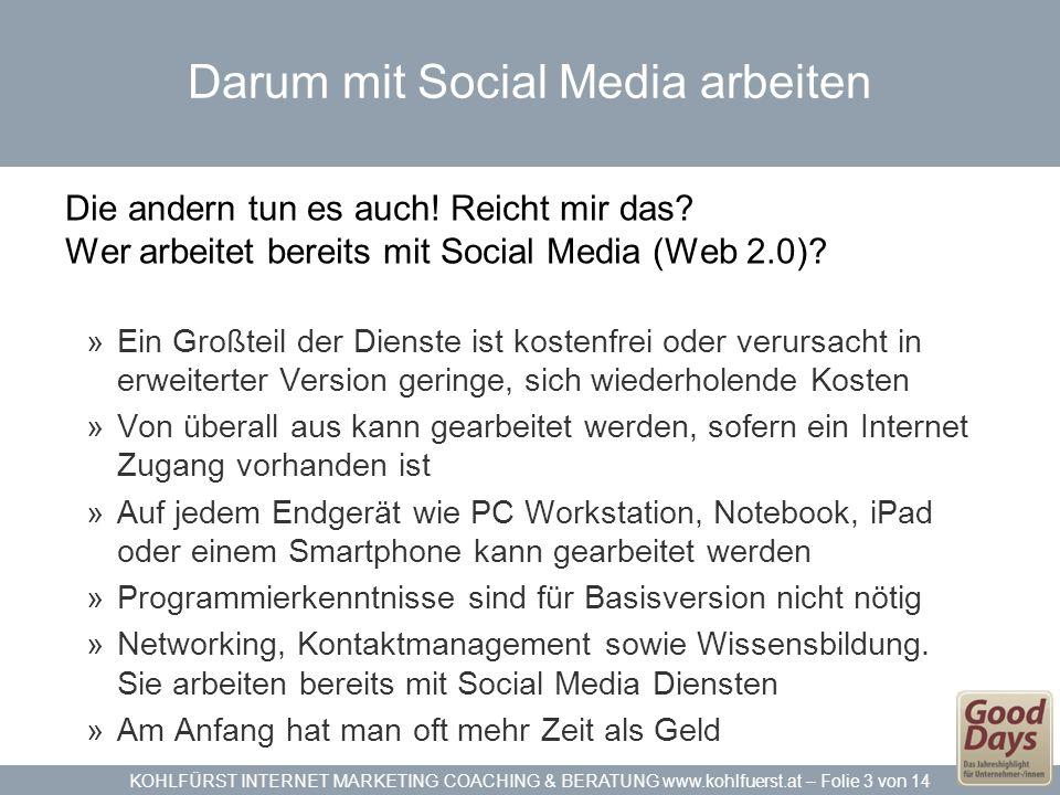 KOHLFÜRST INTERNET MARKETING COACHING & BERATUNG www.kohlfuerst.at – Folie 3 von 14 Darum mit Social Media arbeiten Die andern tun es auch! Reicht mir