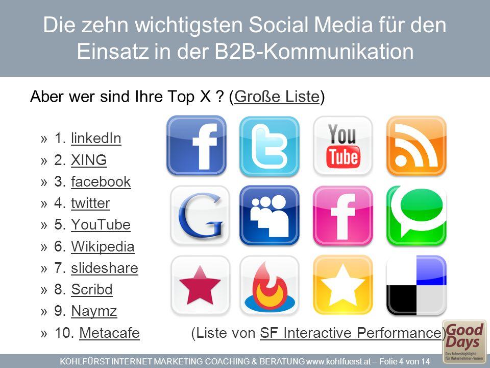 KOHLFÜRST INTERNET MARKETING COACHING & BERATUNG www.kohlfuerst.at – Folie 4 von 14 Die zehn wichtigsten Social Media für den Einsatz in der B2B-Kommunikation Aber wer sind Ihre Top X .