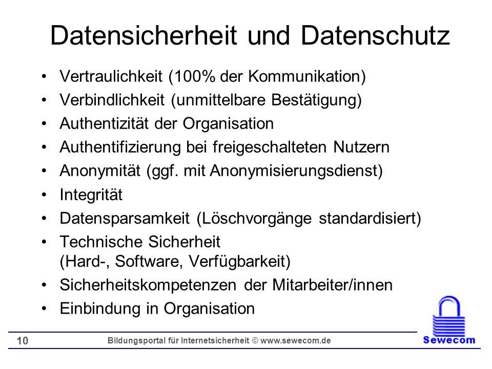 Bildungsportal für Internetsicherheit © www.sewecom.de 10 Datensicherheit und Datenschutz Vertraulichkeit (100% der Kommunikation) Verbindlichkeit (un