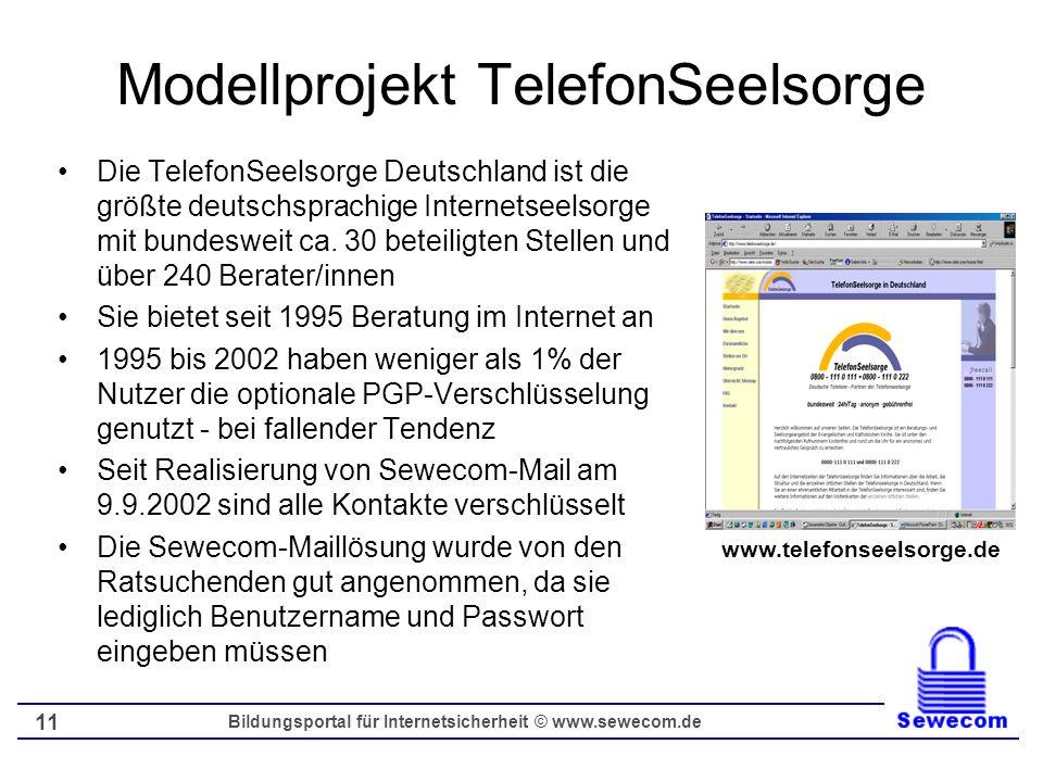 Bildungsportal für Internetsicherheit © www.sewecom.de 11 Modellprojekt TelefonSeelsorge Die TelefonSeelsorge Deutschland ist die größte deutschsprach