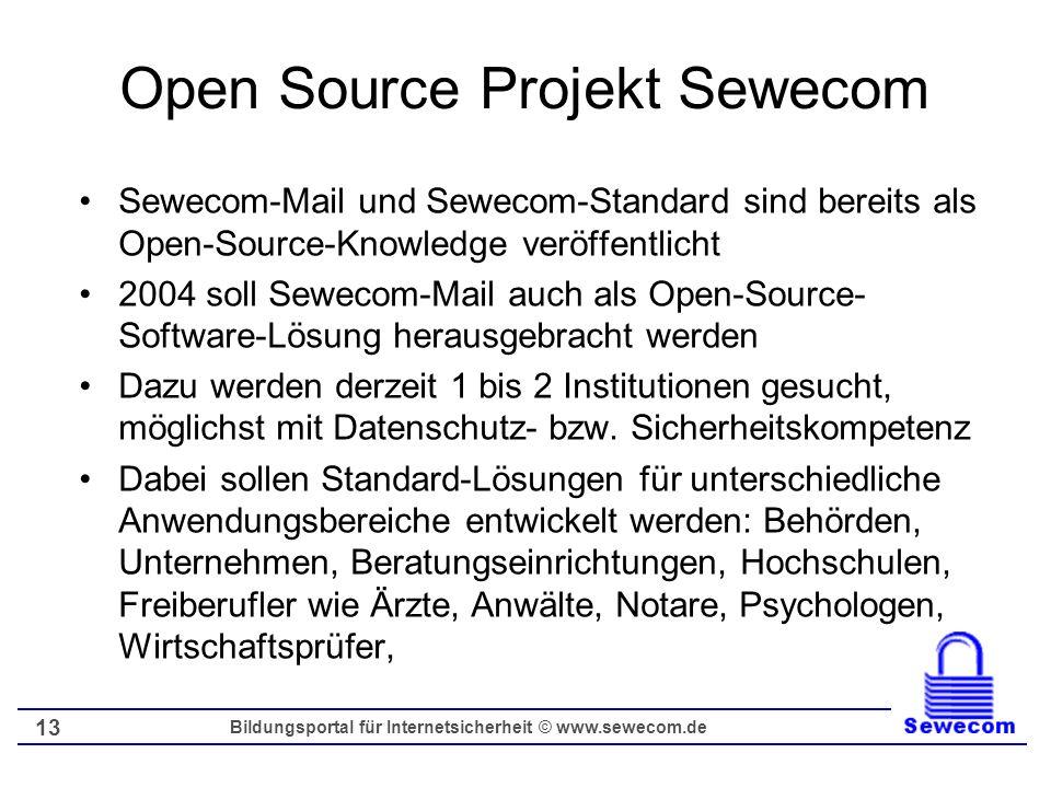 Bildungsportal für Internetsicherheit © www.sewecom.de 13 Open Source Projekt Sewecom Sewecom-Mail und Sewecom-Standard sind bereits als Open-Source-K