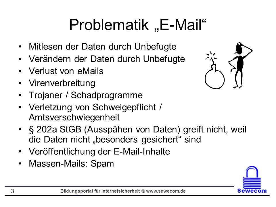 Bildungsportal für Internetsicherheit © www.sewecom.de 3 Problematik E-Mail Mitlesen der Daten durch Unbefugte Verändern der Daten durch Unbefugte Ver