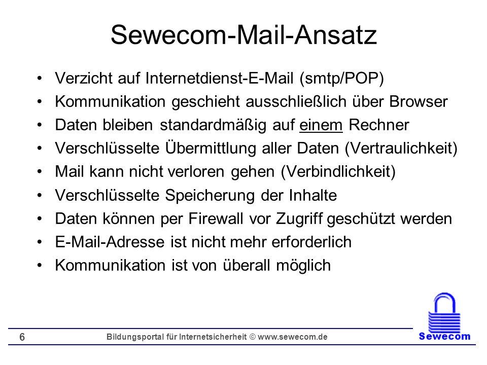 Bildungsportal für Internetsicherheit © www.sewecom.de 7 Zugangssoftware Sewecom-Mail Mailen wird über dynamische Webseiten realisiert Datenbankbasiertes und webbasiertes Mailen Mögliche Lösung: HTML / PHP / MySQL-Datenbank Geregelter Zugriff auch per VPN bzw.