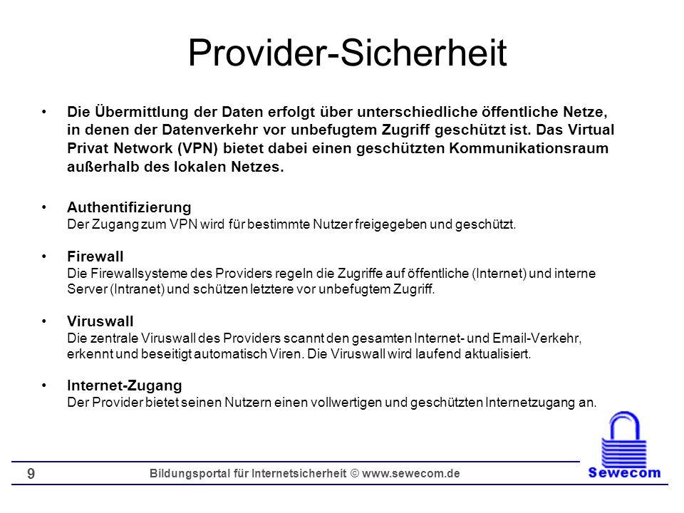 Bildungsportal für Internetsicherheit © www.sewecom.de 10 Datensicherheit und Datenschutz Vertraulichkeit (100% der Kommunikation) Verbindlichkeit (unmittelbare Bestätigung) Authentizität der Organisation Authentifizierung bei freigeschalteten Nutzern Anonymität (ggf.