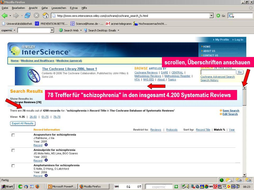 Klemperer 78 Treffer für schizophrenia in den insgesamt 4.200 Systematic Reviews scrollen, Überschriften anschauen
