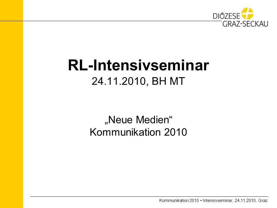 Kommunikation 2010 Intensivseminar, 24.11.2010, Graz RL-Intensivseminar 24.11.2010, BH MT Neue Medien Kommunikation 2010