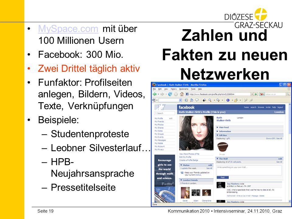 Kommunikation 2010 Intensivseminar, 24.11.2010, GrazSeite 19 Zahlen und Fakten zu neuen Netzwerken MySpace.com mit über 100 Millionen UsernMySpace.com