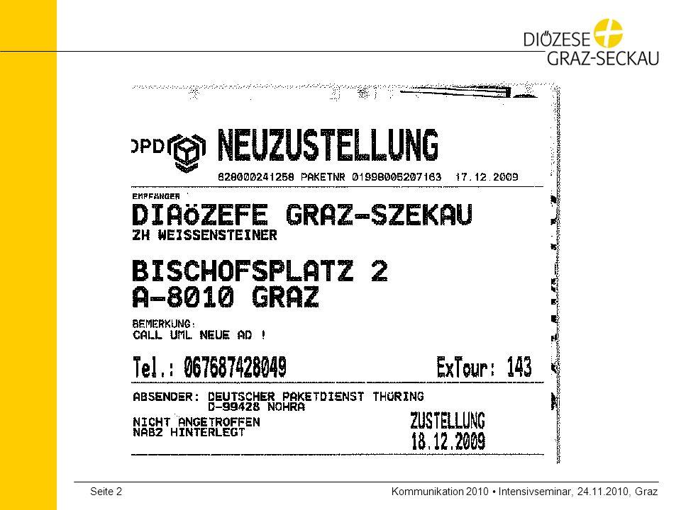 Kommunikation 2010 Intensivseminar, 24.11.2010, GrazSeite 3 Kirchliche Verkündigung in der modernen Medienwelt Heutiger Referent: Dr.