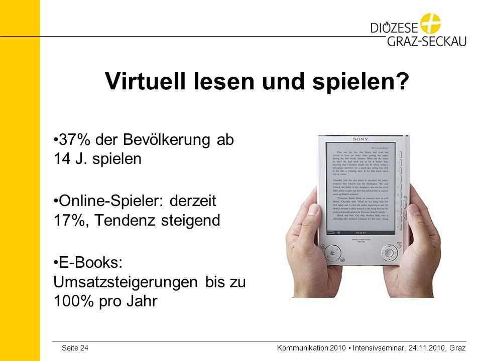 Kommunikation 2010 Intensivseminar, 24.11.2010, GrazSeite 24 Virtuell lesen und spielen? 37% der Bevölkerung ab 14 J. spielen Online-Spieler: derzeit