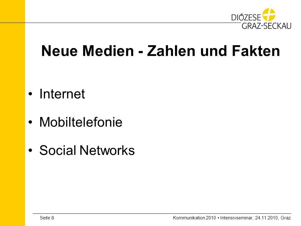 Kommunikation 2010 Intensivseminar, 24.11.2010, GrazSeite 19 Zahlen und Fakten zu neuen Netzwerken MySpace.com mit über 100 Millionen UsernMySpace.com Facebook: 300 Mio.
