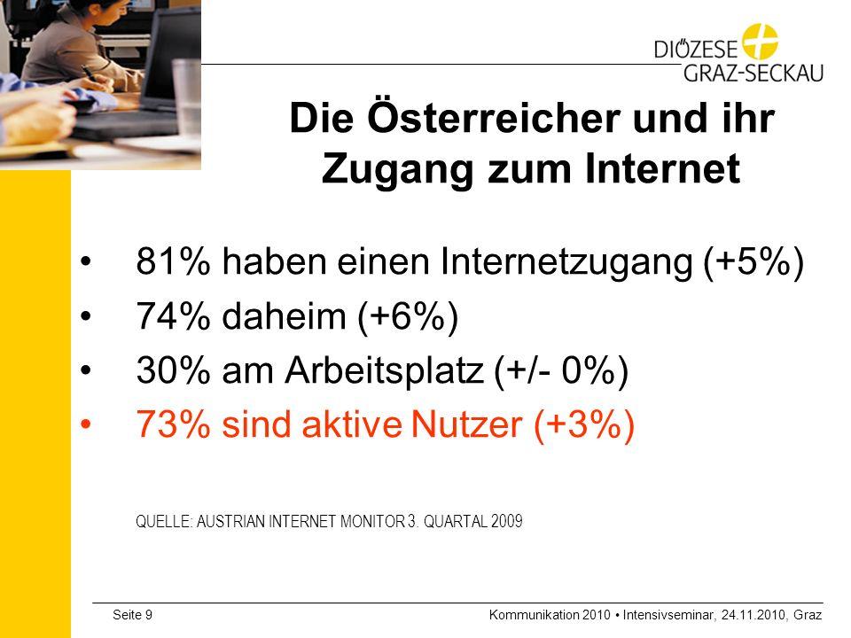 Kommunikation 2010 Intensivseminar, 24.11.2010, GrazSeite 10 Die Österreicher und das Internet - Altersgruppen 92% der 14 bis 29-Jährigen 80-90% der 30 bis 49-Jährigen 67% der 50 bis 59-Jährigen 44% der 60 bis 69-Jährigen 20% der über 70-Jährigen Stark steigend: Altersgruppe 50+ und Frauen QUELLE: AUSTRIAN INTERNET MONITOR 3.