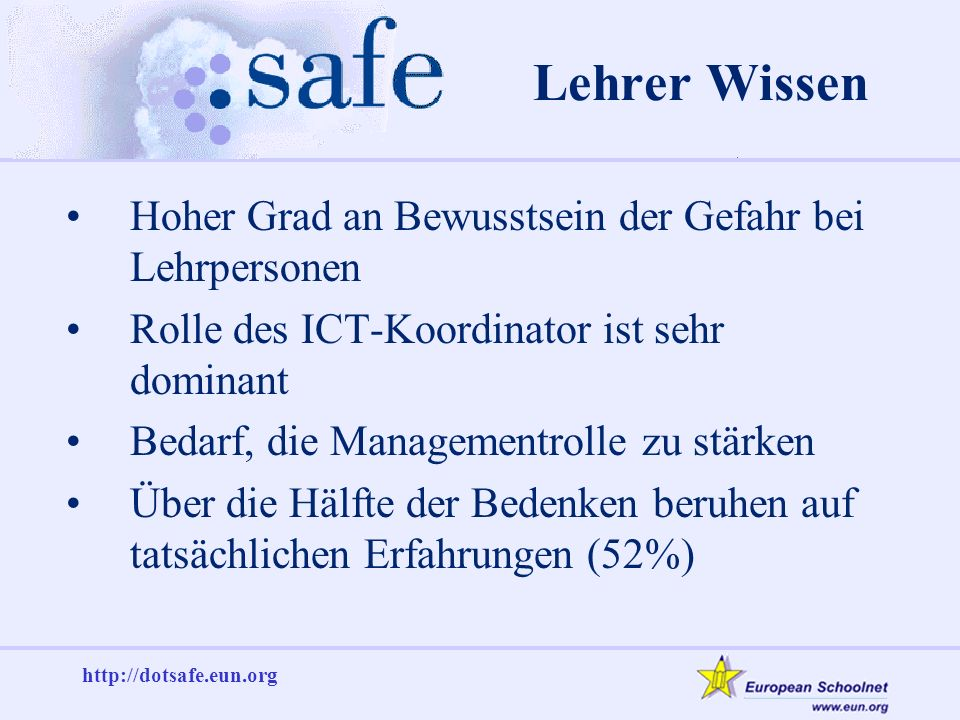 http://dotsafe.eun.org Lehrer Wissen Hoher Grad an Bewusstsein der Gefahr bei Lehrpersonen Rolle des ICT-Koordinator ist sehr dominant Bedarf, die Managementrolle zu stärken Über die Hälfte der Bedenken beruhen auf tatsächlichen Erfahrungen (52%)