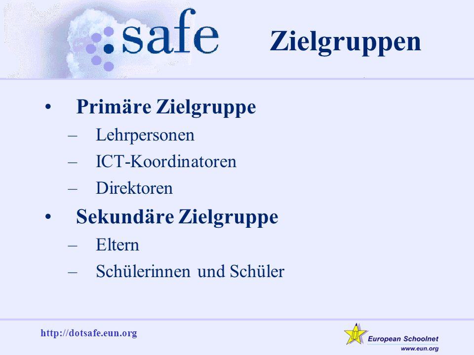 http://dotsafe.eun.org Zielgruppen Primäre Zielgruppe –Lehrpersonen –ICT-Koordinatoren –Direktoren Sekundäre Zielgruppe –Eltern –Schülerinnen und Schüler