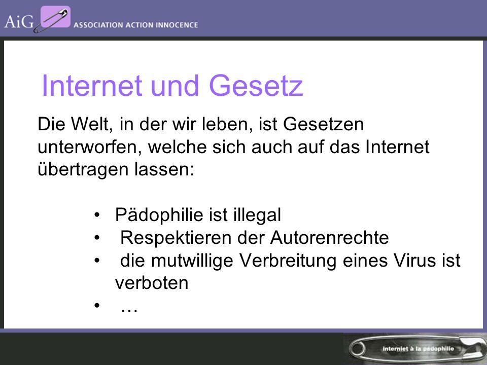 Internet und Gesetz Die Welt, in der wir leben, ist Gesetzen unterworfen, welche sich auch auf das Internet übertragen lassen: Pädophilie ist illegal Respektieren der Autorenrechte die mutwillige Verbreitung eines Virus ist verboten …