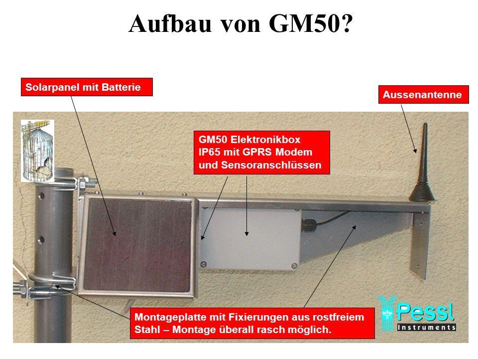Solarpanel mit Batterie GM50 Elektronikbox IP65 mit GPRS Modem und Sensoranschlüssen Aussenantenne Montageplatte mit Fixierungen aus rostfreiem Stahl – Montage überall rasch möglich.