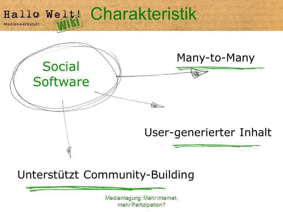 Medientagung: Mehr Internet, mehr Partizipation? Charakteristik Unterstützt Community-Building Social Software User-generierter Inhalt Many-to-Many