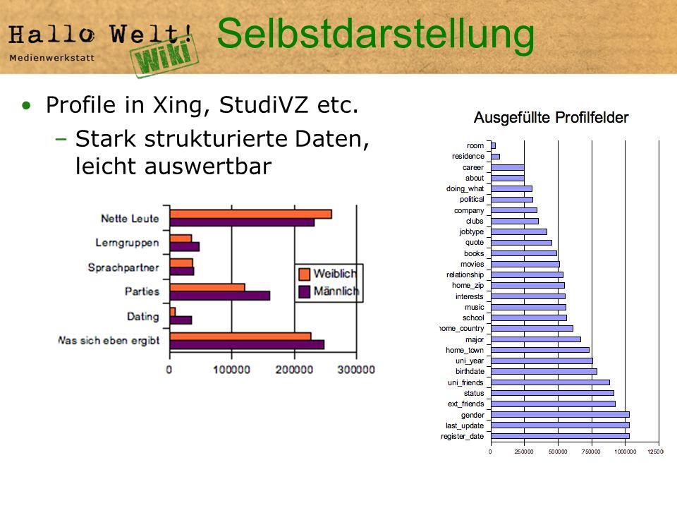 Selbstdarstellung Profile in Xing, StudiVZ etc. –Stark strukturierte Daten, leicht auswertbar