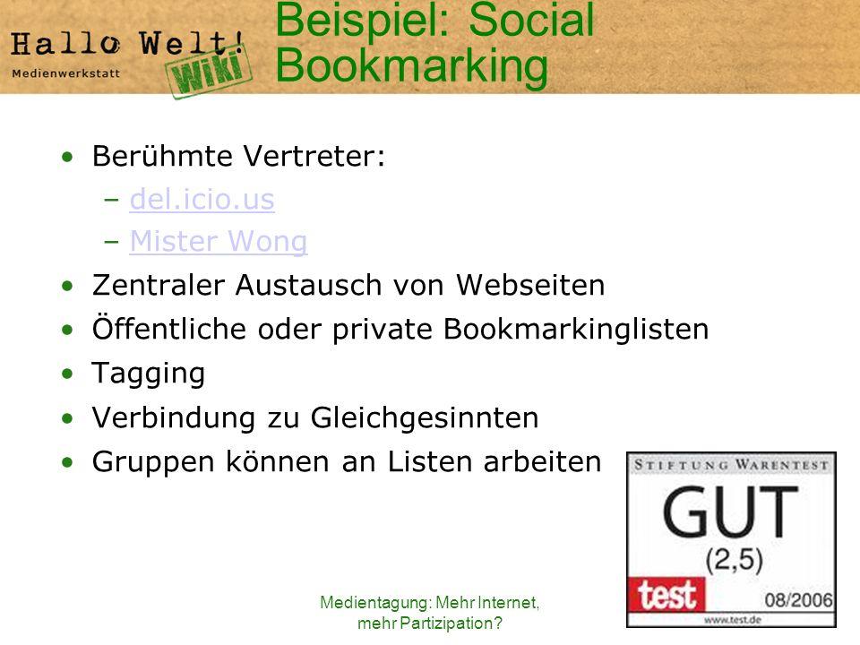Medientagung: Mehr Internet, mehr Partizipation? Beispiel: Social Bookmarking Berühmte Vertreter: –del.icio.usdel.icio.us –Mister WongMister Wong Zent