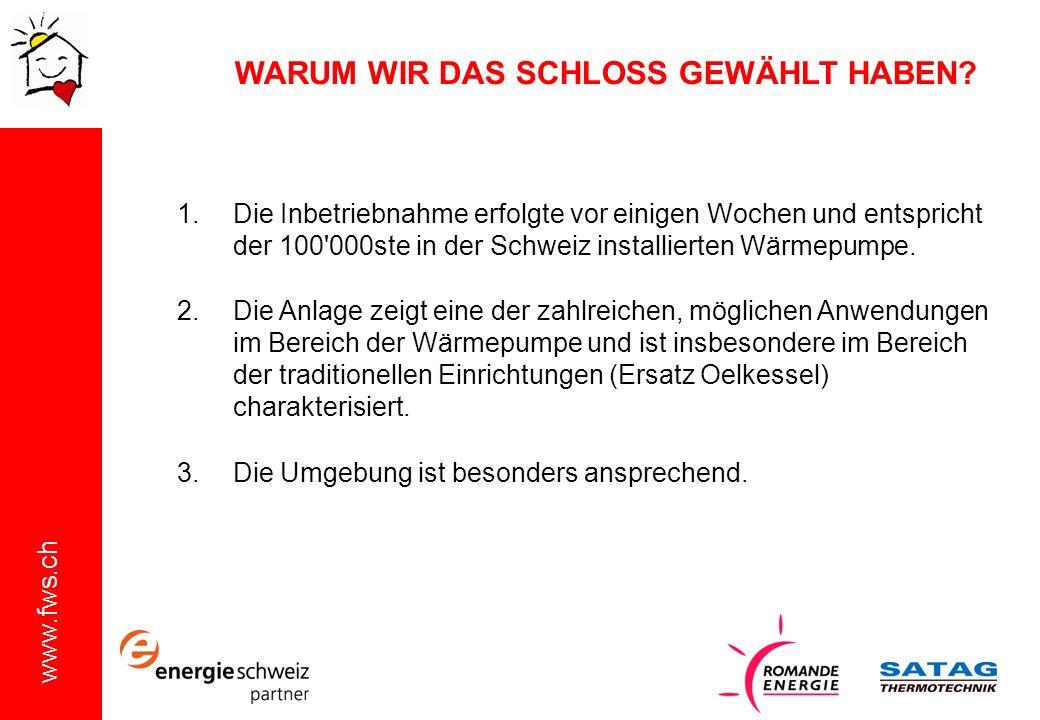 www.fws.ch WARUM WIR DAS SCHLOSS GEWÄHLT HABEN? 1.Die Inbetriebnahme erfolgte vor einigen Wochen und entspricht der 100'000ste in der Schweiz installi