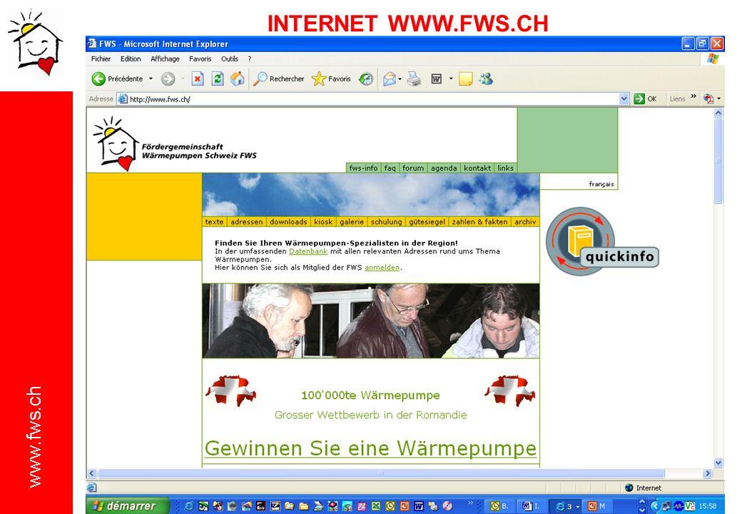 www.fws.ch Jahresbetrachtung: 254780000 Liter Heizöl 804640000Kilo Kohlendioxid (CO 2 ) 826690Kilo Stickstoffoxid (NO x ) 100000 WP IN BETRIEB = Starke Reduzierung der Umweltbelastung