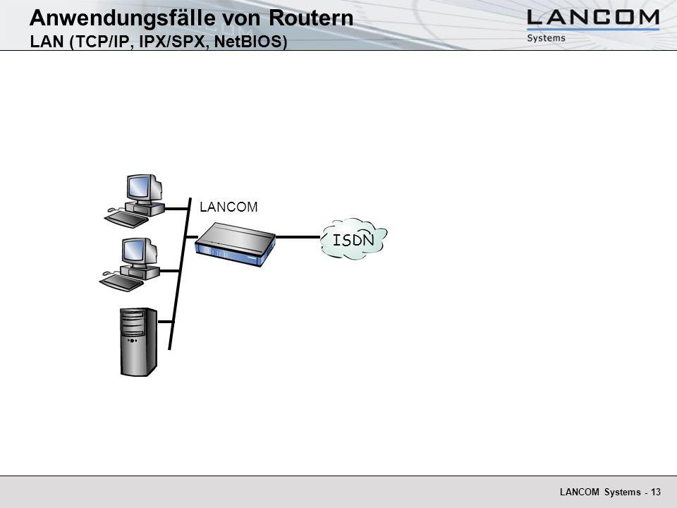 LANCOM Systems - 13 Anwendungsfälle von Routern LAN (TCP/IP, IPX/SPX, NetBIOS) LANCOM ISDN
